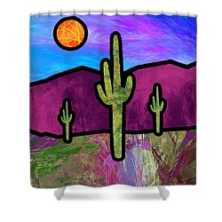 Desert Stained Glass Shower Curtain