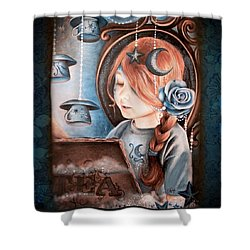 Tea In The Moonlight Shower Curtain by Sheena Pike