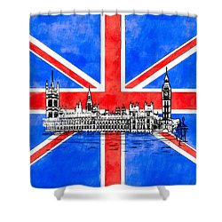 Oh So British - Union Jack And Westminster Shower Curtain by Mark E Tisdale