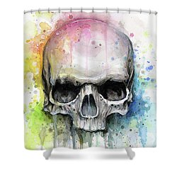 Skull Watercolor Painting Shower Curtain