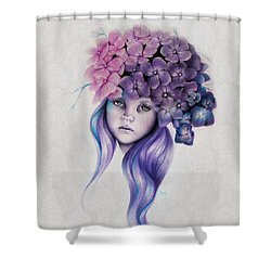 Shower Curtain featuring the mixed media Hydrangea by Sheena Pike