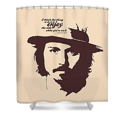 Johnny Depp Minimalist Poster Shower Curtain by Lab No 4 - The Quotography Department