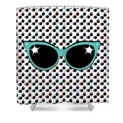 Retro Turquoise Cat Sunglasses Shower Curtain