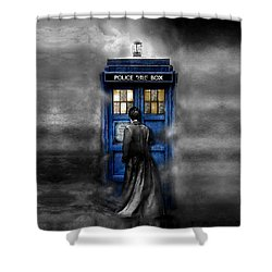 Mysterious Time Traveller With Black Jacket Shower Curtain