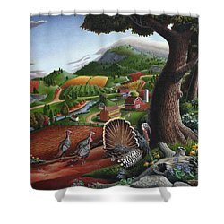 Wild Turkeys Appalachian Thanksgiving Landscape - Childhood Memories - Country Life - Americana Shower Curtain