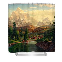 Indian Village Trapper Western Mountain Landscape Oil Painting - Native Americans Americana Stream Shower Curtain
