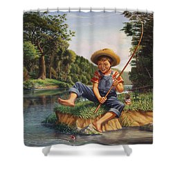 Boy Fishing In River Landscape - Childhood Memories - Flashback - Folkart - Nostalgic - Walt Curlee Shower Curtain