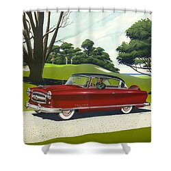 1953 Nash Rambler Car Americana Rustic Rural Country Auto Antique Painting Red Golf Shower Curtain by Walt Curlee