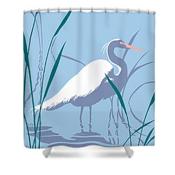 abstract Egret graphic pop art nouveau 1980s stylized retro tropical florida bird print blue gray  Shower Curtain