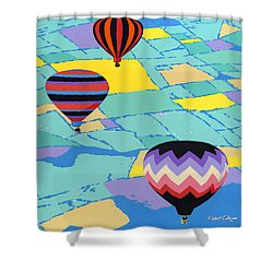 Abstract Hot Air Balloons - Ballooning - Pop Art Nouveau Retro Landscape - 1980s Decorative Stylized Shower Curtain