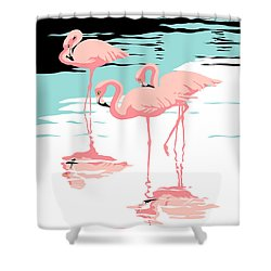 Pink Flamingos Tropical 1980s Abstract Pop Art Nouveau Graphic Art Retro Stylized Florida Print Shower Curtain