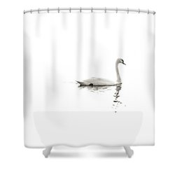 Minimalist Swans In Black And White Shower Curtain by Brooke T Ryan