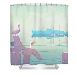 Abstract Pelicans Tropical Florida Seascape Sailboats Large Pop Art Nouveau 1980s Stylized Painting Shower Curtain by Walt Curlee