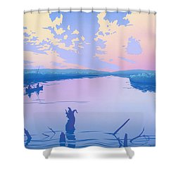 abstract people Canoeing river sunset landscape 1980s pop art nouveau retro stylized painting print Shower Curtain by Walt Curlee