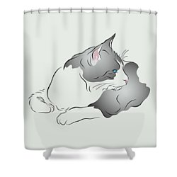 Shower Curtain featuring the digital art Grey And White Cat In Profile Graphic by MM Anderson