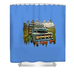The Blue Classic 48 To 52 Ford Truck Shower Curtain