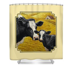 Holstein Cow And Calf Farm Shower Curtain by Crista Forest