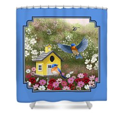 Bluebirds And Yellow Birdhouse Shower Curtain by Crista Forest