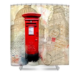 To London By Mail - Classic Post Box Shower Curtain by Mark E Tisdale