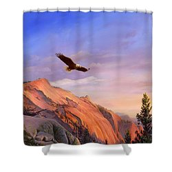 Flying American Bald Eagle Mountain Landscape Painting - American West - Western Decor - Bird Art Shower Curtain