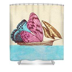 Butterfly Ship Shower Curtain