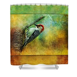 Woodpecker On Cherry Tree Shower Curtain