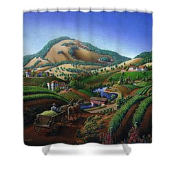 Old Wine Country Landscape - Delivering Grapes To Winery - Vintage Americana Shower Curtain