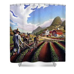 Appalachian Folk Art Summer Farmer Cultivating Peas Farm Farming Landscape Appalachia Americana Shower Curtain