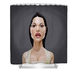 Shower Curtain featuring the drawing Celebrity Sunday - Monica Bellucci by Rob Snow