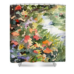 Path Monets Garden Watercolor Paintings Of France Shower Curtain