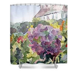 Purple Blossoms Monets Garden Watercolor Paintings Of France Shower Curtain