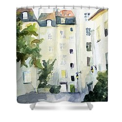 Village Saint Paul Watercolor Painting Of Paris Shower Curtain by Beverly Brown