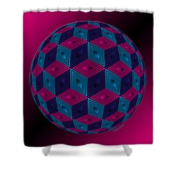Spherized Pink Purple Blue And Black Hexa Shower Curtain