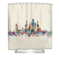 Singapore City Skyline Shower Curtain