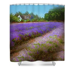 Impressionistic Lavender Field Landscape Plein Air Painting Shower Curtain