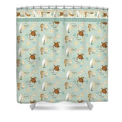 Coastal Waterways - Green Sea Turtle Rectangle 2 Shower Curtain