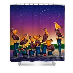 Pelican Sunset Whimsical Cartoon Tropical Birds Seascape Print Blue Orange Purple Yellow Shower Curtain