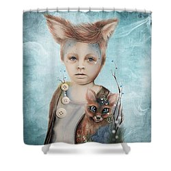 A Boy And His Fox   Shower Curtain by Sheena Pike