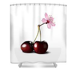 Shower Curtain featuring the drawing Cherry Blossom by Rob Snow