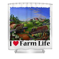 I Love Farm Life - Groundhog - Spring In Appalachia - Rural Farm Landscape Shower Curtain by Walt Curlee