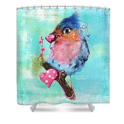 Shower Curtain featuring the mixed media Love Bird by Sheena Pike