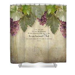 Tuscan Vineyard - Rustic Wood Fence Scripture Shower Curtain