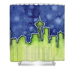 Seattle Night Sky Watercolor Shower Curtain by Olga Shvartsur