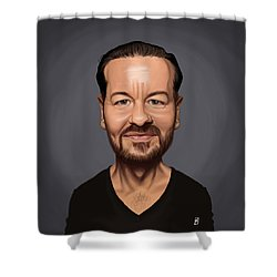 Shower Curtain featuring the drawing Celebrity Sunday - Ricky Gervais by Rob Snow