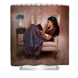 Shower Curtain featuring the painting Jaidyn Reading A Book 2 - Portrait Of Woman by Karen Whitworth
