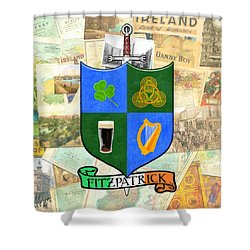 Shower Curtain featuring the digital art Irish Coat Of Arms - Fitzpatrick by Mark E Tisdale
