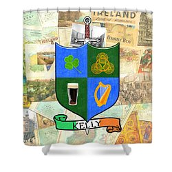 Shower Curtain featuring the digital art Irish Coat Of Arms - Kelly by Mark E Tisdale