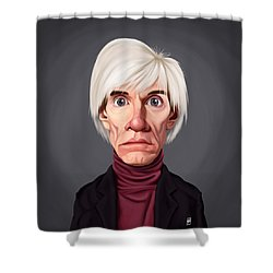 Shower Curtain featuring the drawing Celebrity Sunday - Andy Warhol by Rob Snow