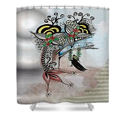 Shower Curtain featuring the drawing The Swing Colorful Ink Drawing Art By Saribelle by Saribelle Rodriguez