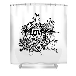 Shower Curtain featuring the drawing Pen And Ink Art Love Black And White Art by Saribelle Rodriguez
